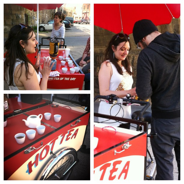 My fabulous friends serving free tea at a pop-up #hotteacart #asianartsinitiative