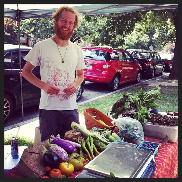 Just purchased some delicious #organic #produce #fruits and #veggies from this blissful guy, my neighbor!! Please support #plowshare farms! They offer a #csa and do deliveries of produce as well! Hes out on 46th & Cedar selling now!