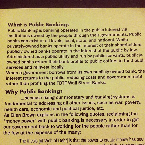 Exploring #publicbanking thanks to a smartypants friend who's involved. Investigate: www.publicbankinginstitute.org