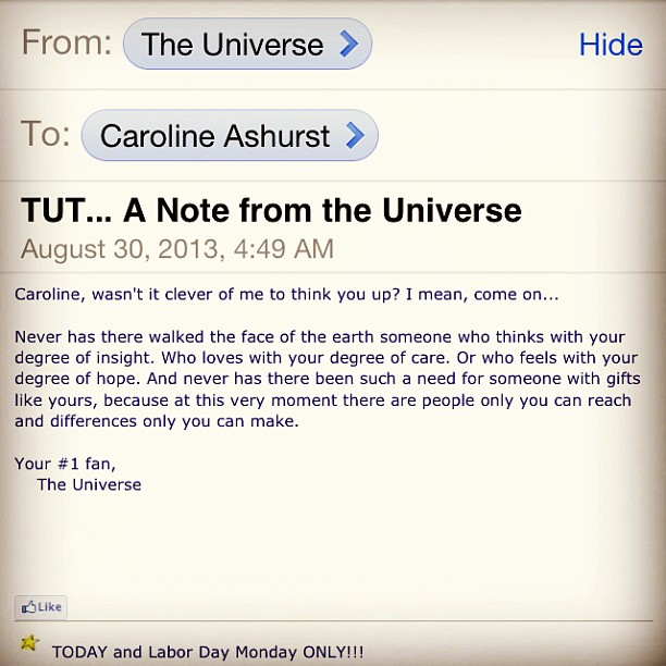 ^-^ awww! Needed to hear this today! Love #notesfromtheuniverse #tut