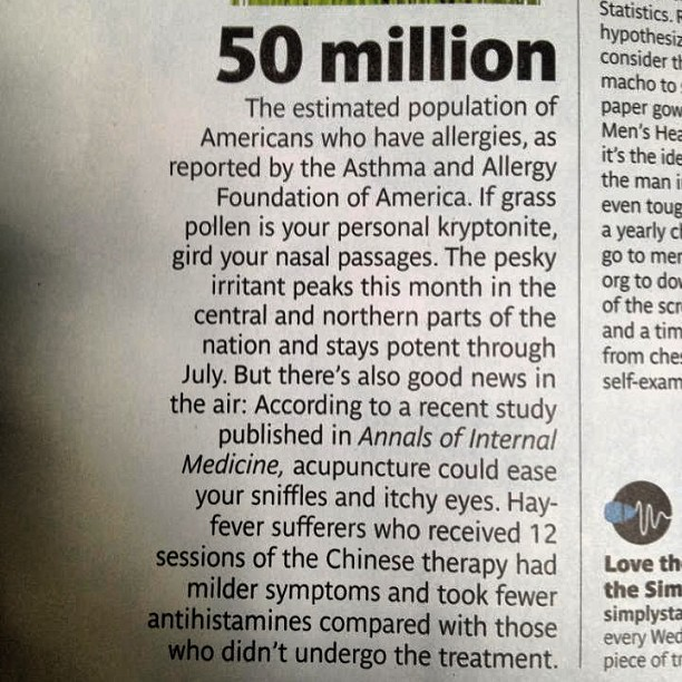 #acupuncture for #allergies (at Real Simple Magazine)