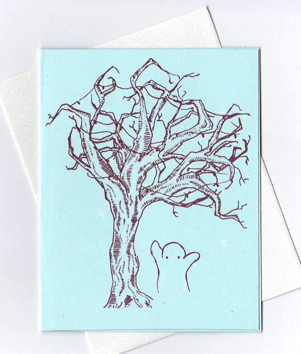 hand-drawn, hand-printed holiday card