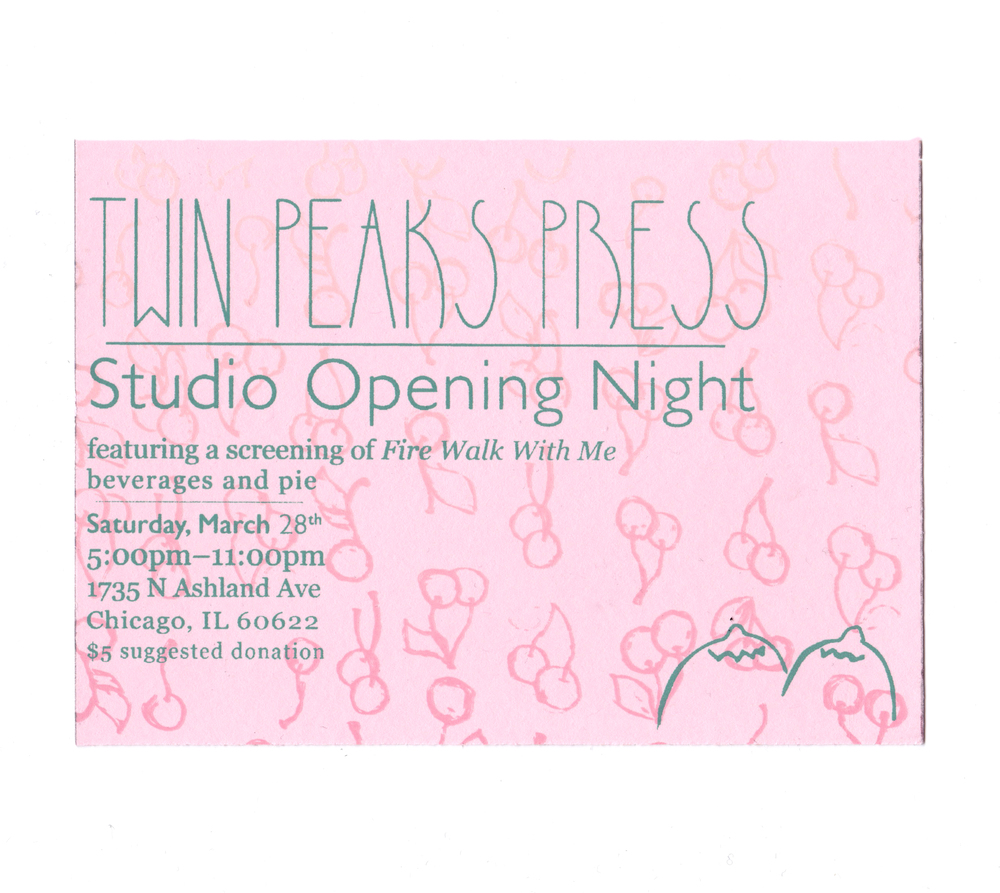 Twin Peaks Press studio opening night postcard