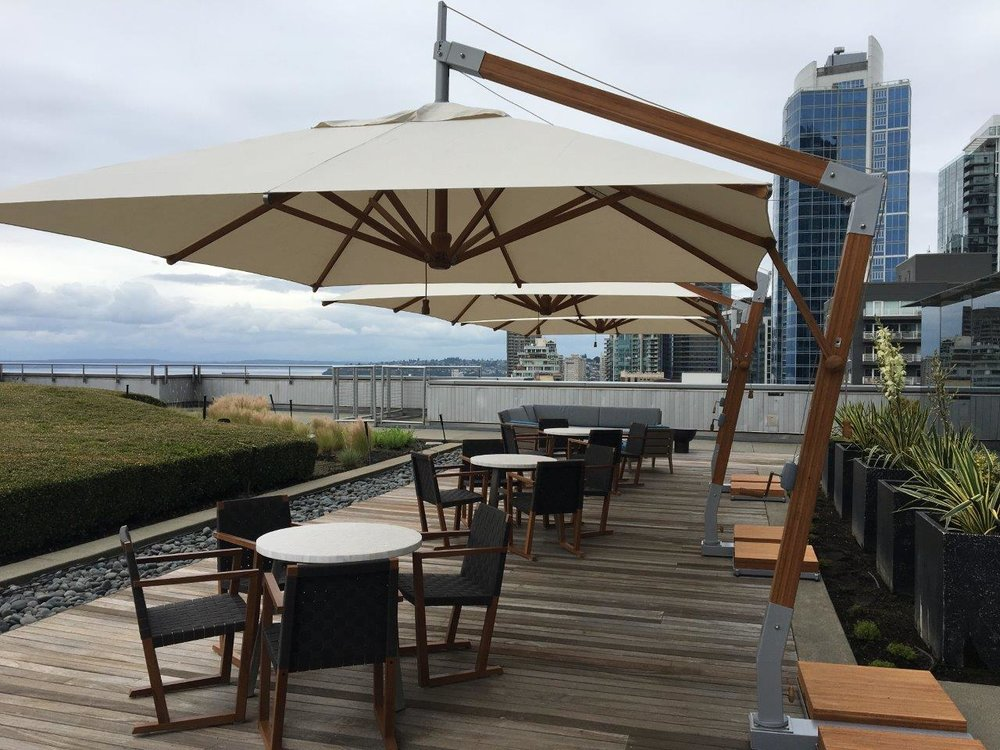 10' Square Levante Sidewind Market Umbrella