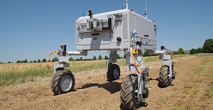 BoniRob, Bosch's prototype crop management robot.  Photo credit: Bosch.