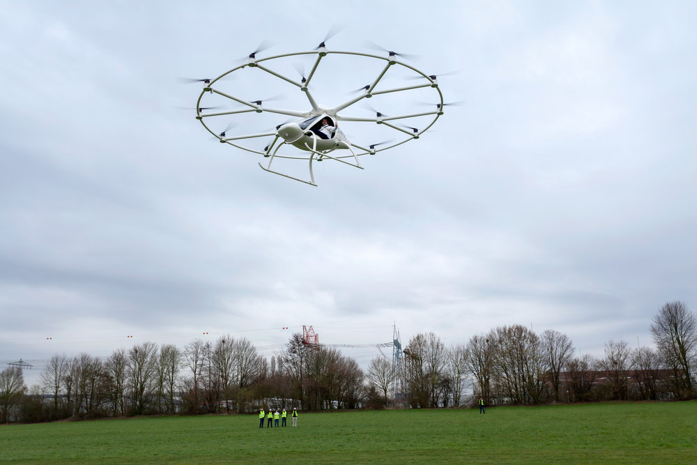 Photo: Volocopter managing director Alexander Zosel pilots the world's first certified electric multi-copter in Germany; 2016. Photo credit:  Volocopter .