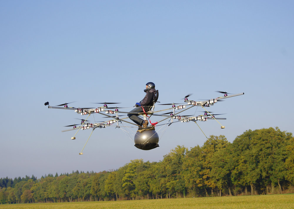 Photo below: Volocopter - formerly known as E-Volo - prototype test flights in 2011. Photo credit: Volocopter.