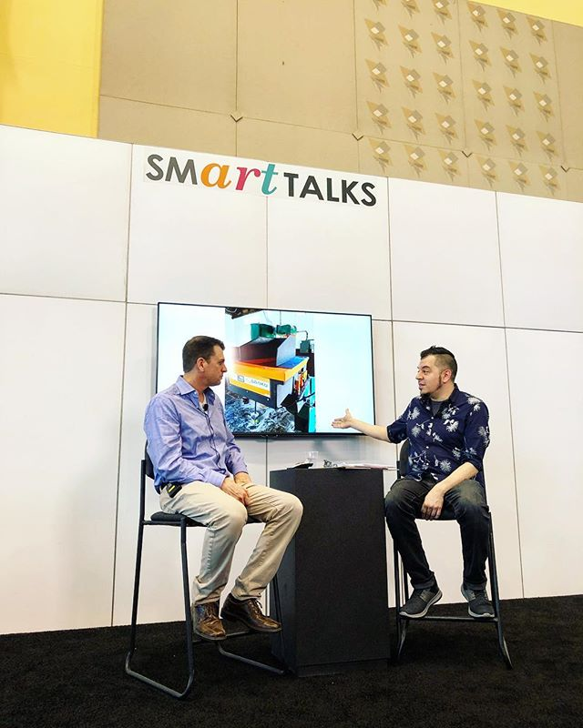 USA #ElectricalEngineering manager, Mark Witt, Discussing #IoT solutions with Carlos Rodela on the Smart Talk Stage at the International Home + Housewares Show. Grateful to our customer, Sanku - Project Healthy Children, for a great project that has been greatly supported by @vodafone_group @oraclenetsuite @usaid - to name a few!