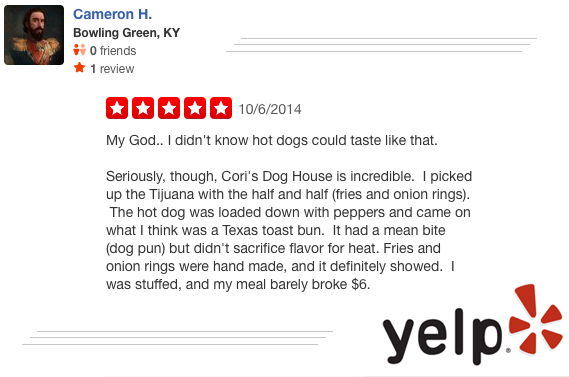 Yelp Glowing Reviews