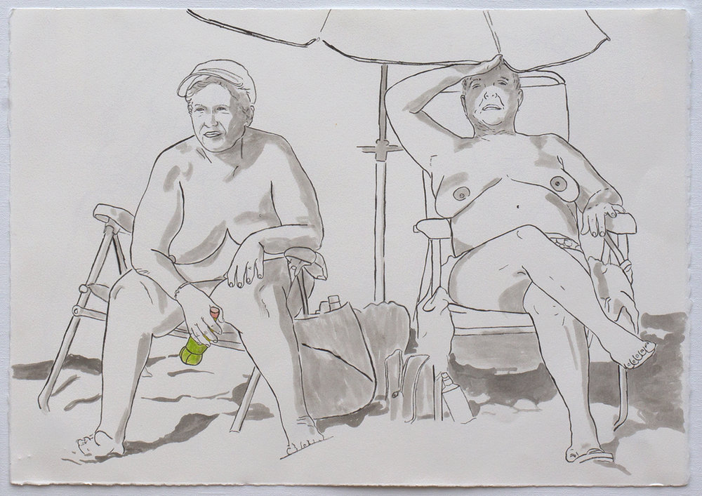 "@2016, Malayka Gormally,  Best Friends At The Beach . Sumi ink and watercolor paper, 15x22""."