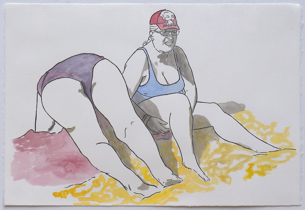 "@2016, Malayka Gormally,  Bottoms Up (Betty Boop Cap) . India ink and watercolor, 15"" x 22""."