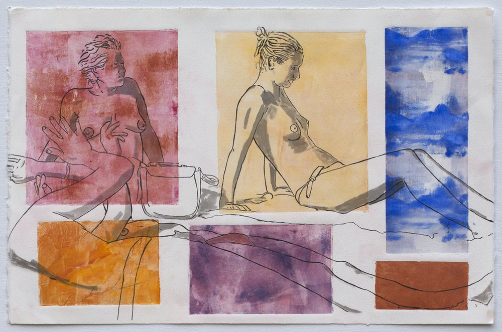 "@2016, Malayka Gormally,  Mother & Daughter Sunbathing . India ink and watercolor over monotype print, 15"" x 22""."