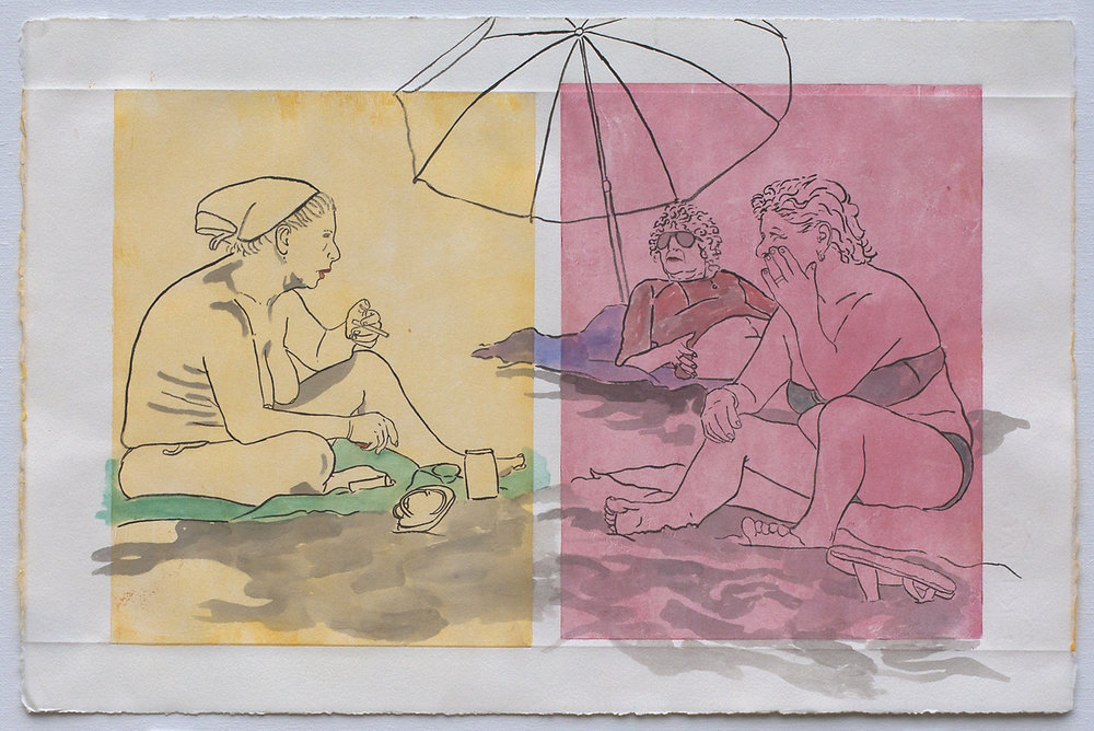 "@2016, Malayka Gormally,  Three Graces at the Beach . India ink and watercolor over monotype print, 15"" x 22""."