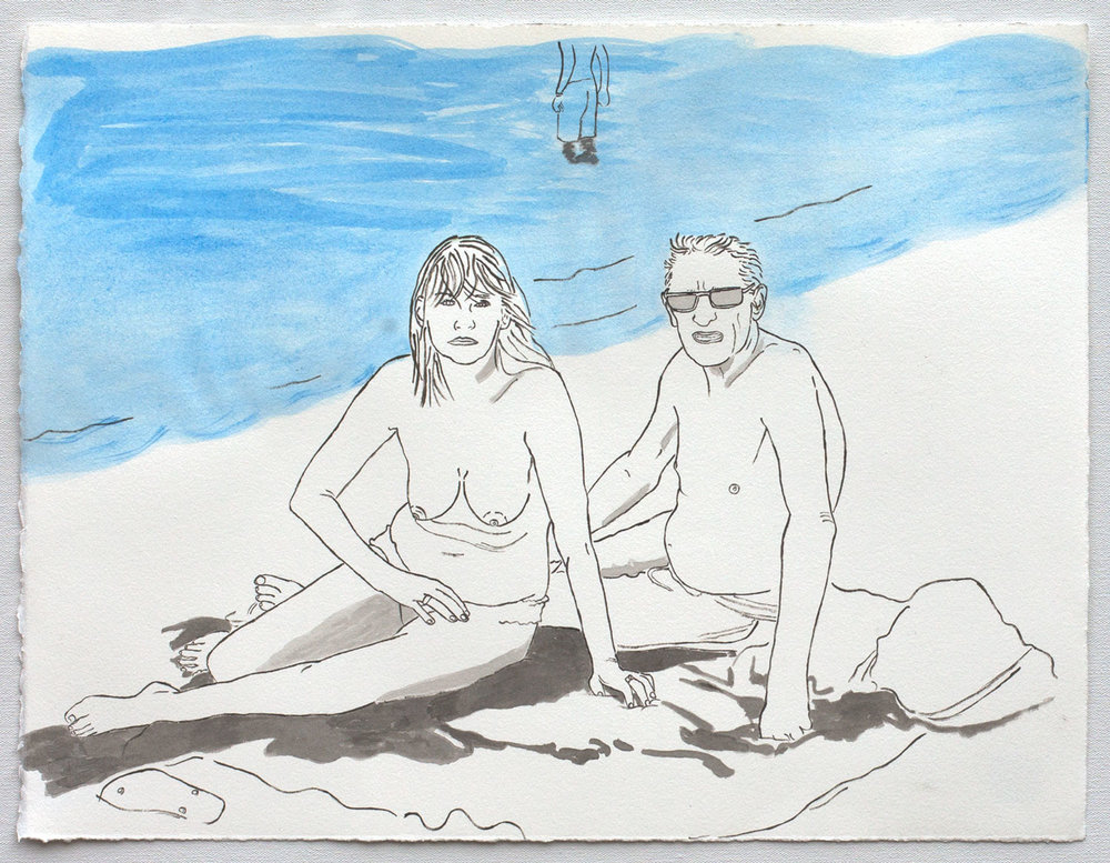 "@2017, Malayka Gormally,  Older Couple At The Beach . India Ink and liquid pigment on paper, 15"" x 19.5""."