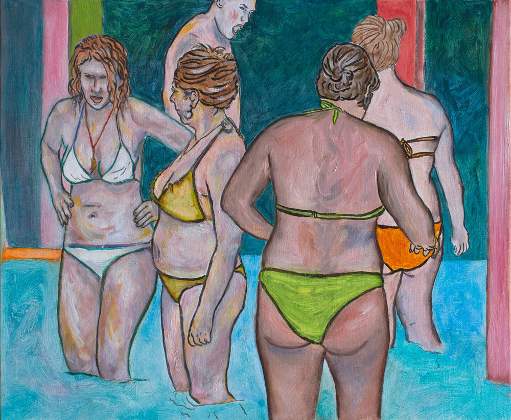 "@2016, Malayka Gormally,  Four Graces At The Spa . Oil on linen, 16"" x 20""."
