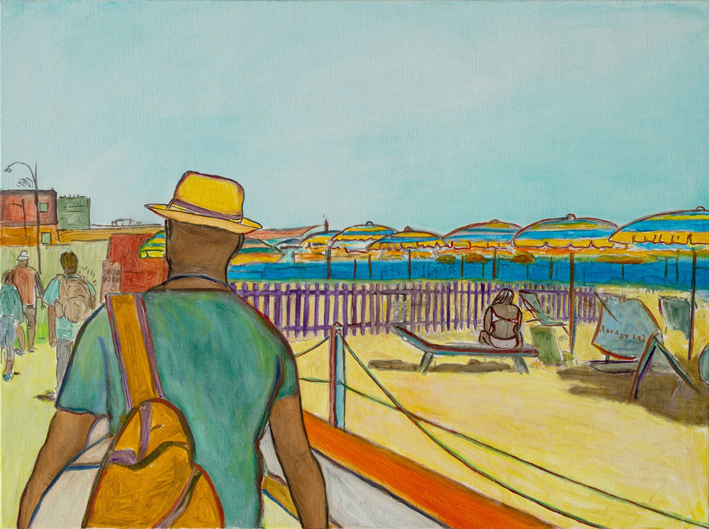 "@2016, Malayka Gormally,  Walking The Beach . Oil on linen, 18"" x 24""."