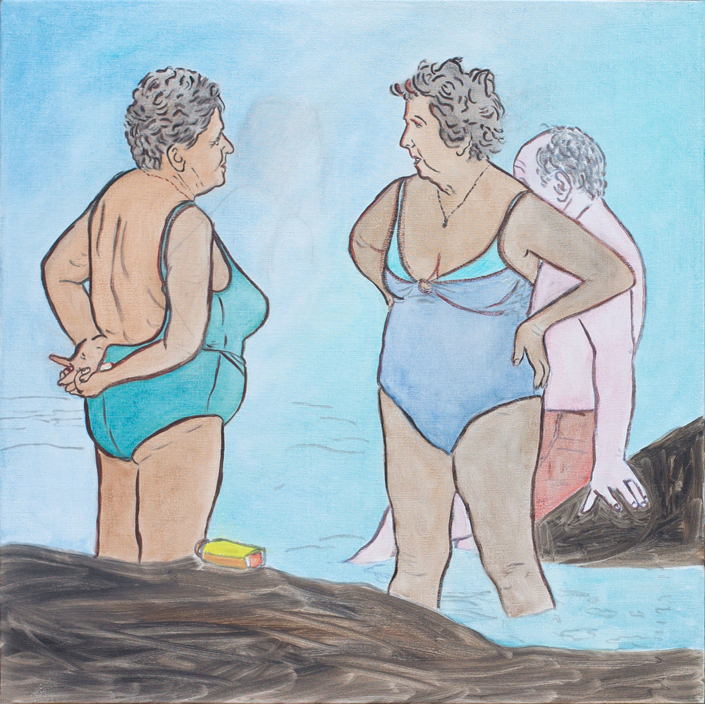 "@2016, Malayka Gormally,  Bathing Ladies . Oil on linen, 24"" x 24""."