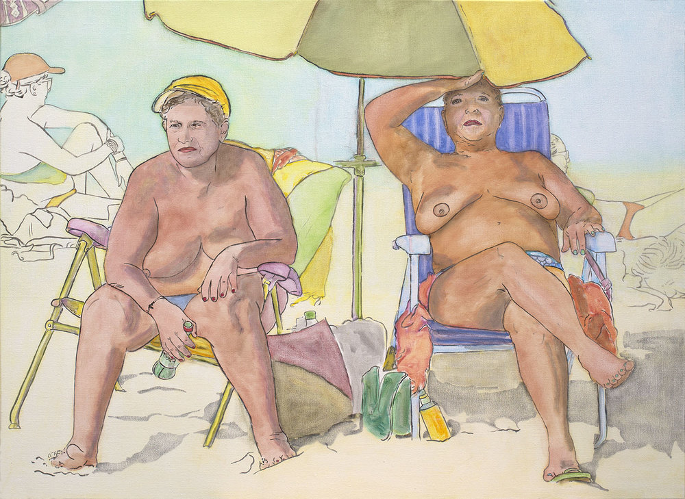 "@2017, Malayka Gormally,  Best Friends At The Beach.  Oil on linen, 30"" x 40""."