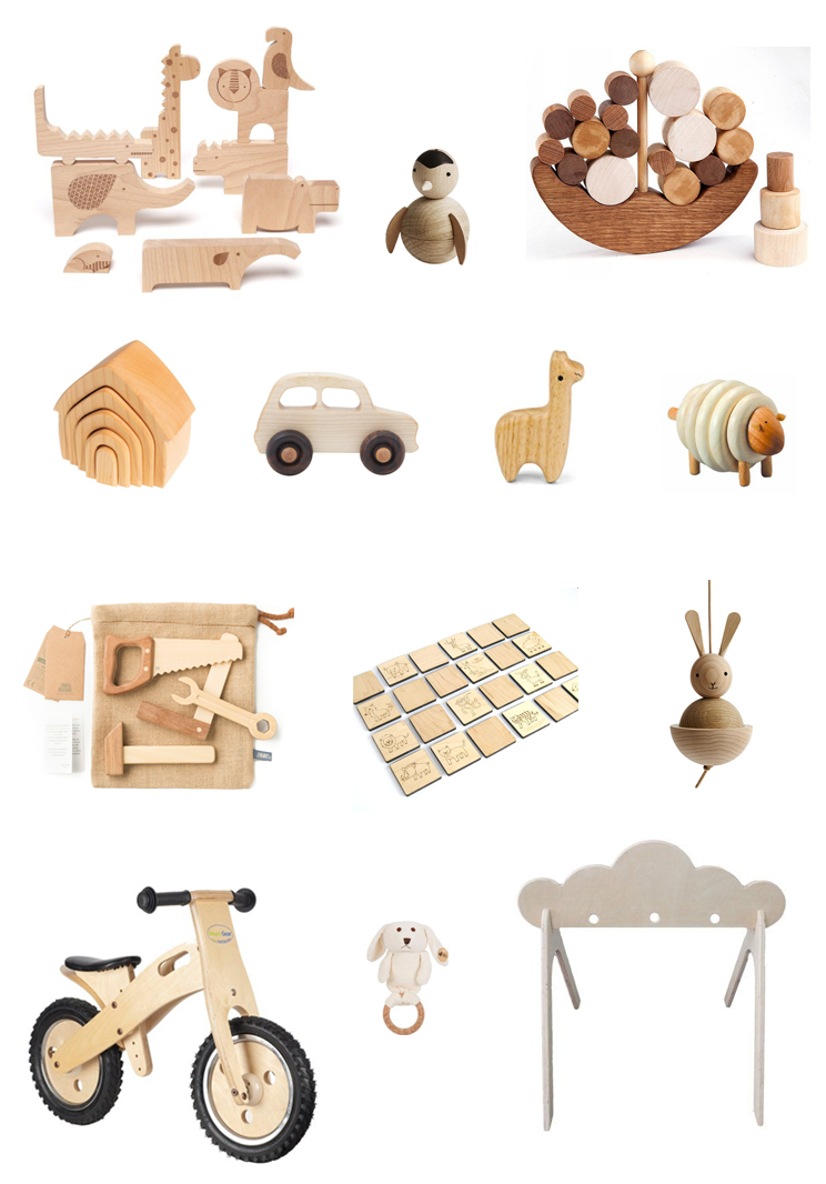 1. Petit Collage wood puzzle 2. OYOY penguin 3. Wooden Caterpillar balancing toy 4. Grimm's stacking house 5. Wooden Story car 6. Green Tones llama shaker 7. Plantoys lacing sheep 8. Fanny & Alexander tool set 9. Little Sapling Toys matching game 10. OYOY rabbit 11. Smart Gear kids wooden balance bike 12. Olives and Pickles rabbit teether 13. Shop Littles cloud activity gym