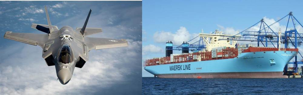 F-35 A the worlds newest multirole fighter.                                    MAERSK Triple E, the worlds largest container ship, 65,000 tons                                                                                                                     bigger than a Ford class carrier.