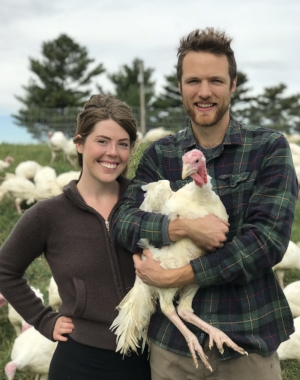 Mark & Katie with their bronze turkeys