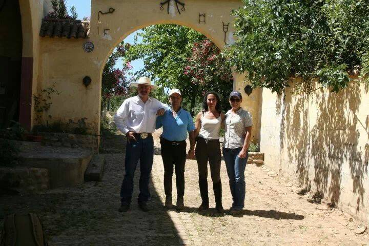 Katrina and Jeff Sanders with Doma Vaquera and Doma Classica trainers Antonio Osuna and Lola Granados - Cordoba, Spain