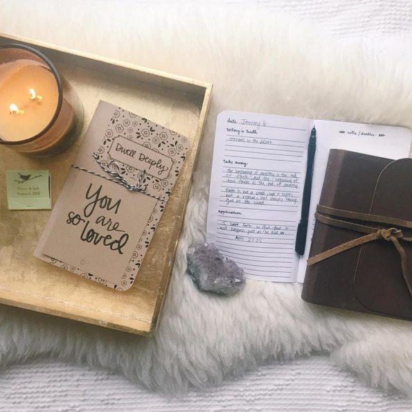 Sharon @fernandthefawn cozied up with her Dwell Deeply Journal