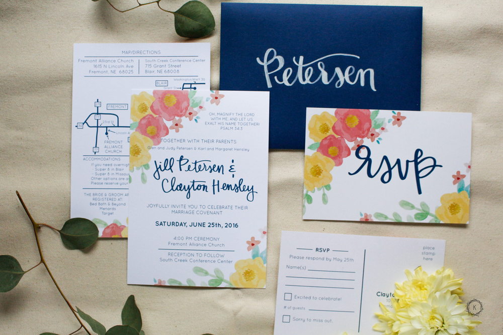 Summery Floral and Navy Invites // Machelle Kolbo Design Studio