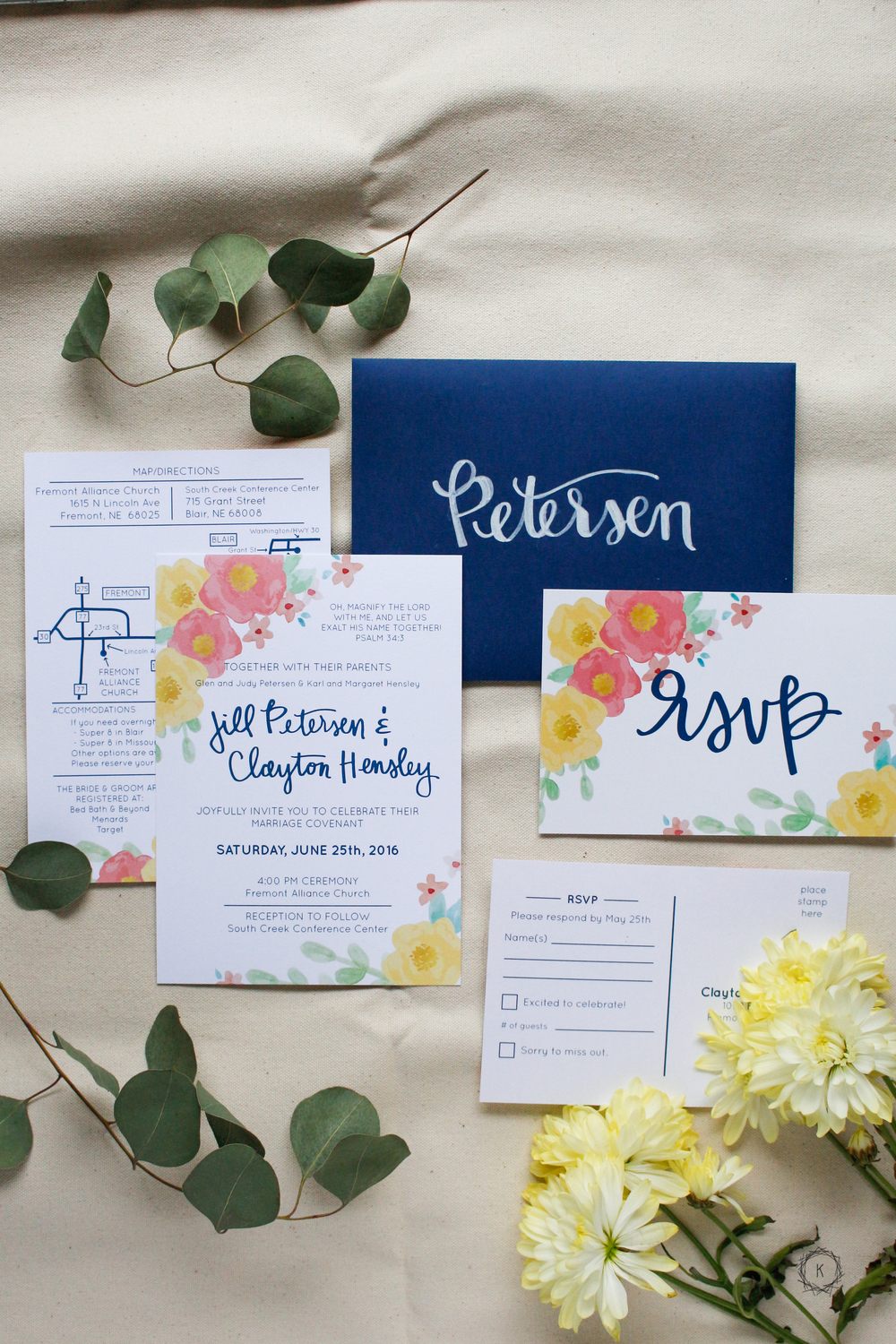 Summery Floral Invitations // Machelle Kolbo Design Studio