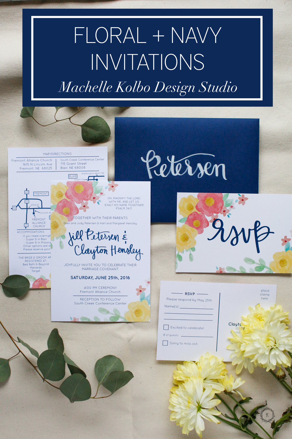 Floral + Navy Wedding Invites // Machelle Kolbo Design Studio