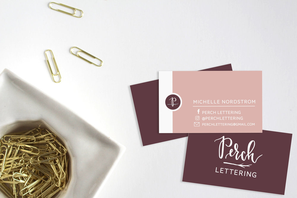 Perch Lettering Business Cards | Machelle Kolbo Design Studio