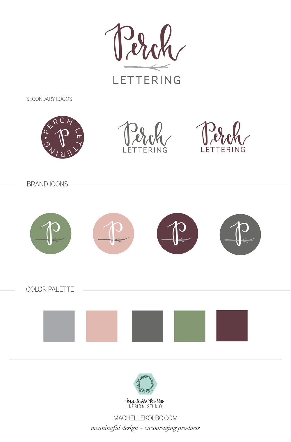 Perch Lettering Brand Style Guide | Machelle Kolbo Design Studio
