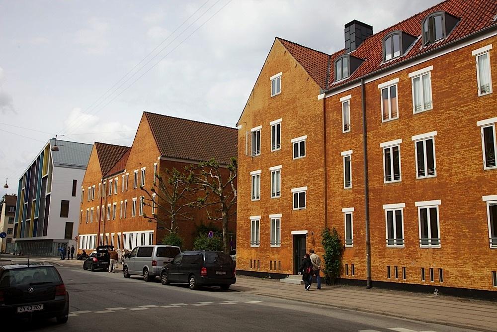 A typical residential street in Copenhagen, Denmark.