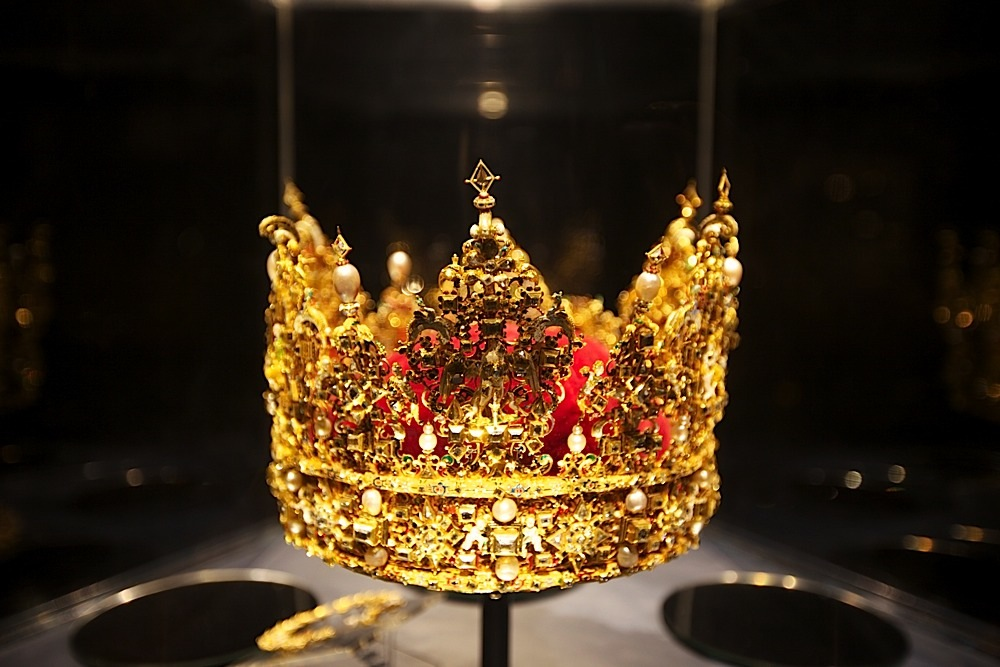 A crown in the Treasury at Rosenborg Slot, Copenhagen, Denmark.