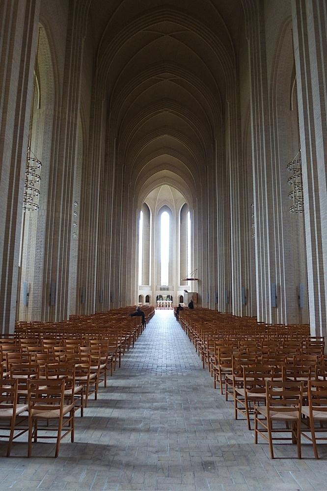 Inside Grundtvigs Kirke, Copenhagen, Denmark.