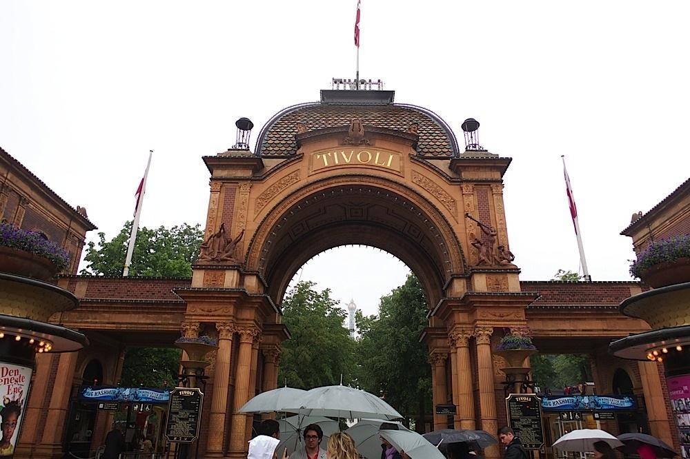 The main entrance to Tivoli Gardens, Copenhagen, Denmark.