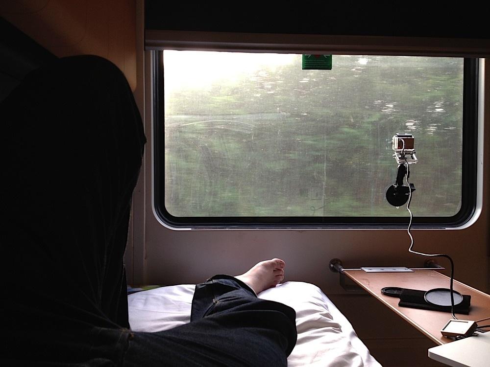 On the sleeper train from Copenhagen, Denmark to Amsterdam, The Netherlands.