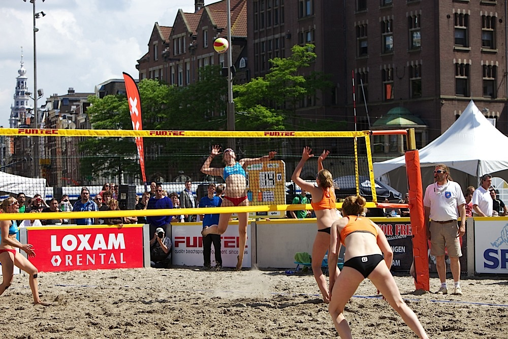 Volleyball in Dam Square, Amsterdam, The Netherlands.
