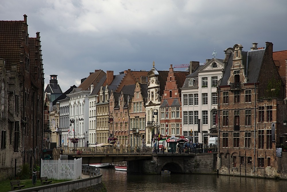 Buildings along the canal in Ghent, Belgium.