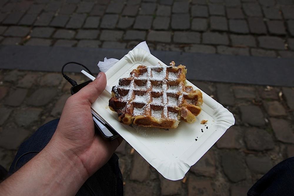 A belgian waffle in Bruges, Belgium.