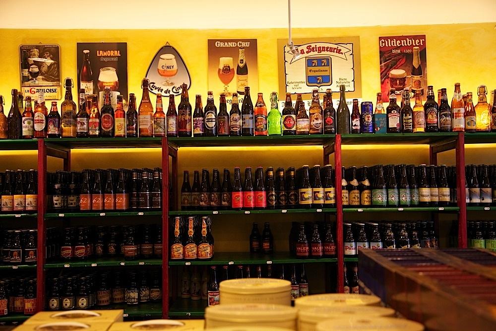 Belgian beer for sale at Beer Mania in Brussels, Belgium.