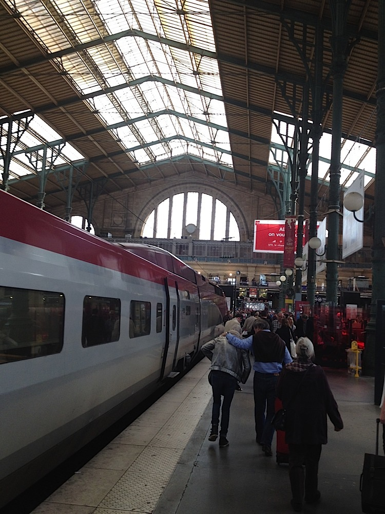 Arrival from Brussels at Gare du Nord, Paris, France.