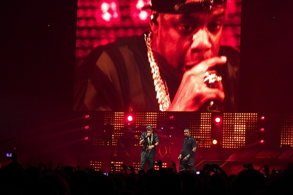Jay-Z and Kanye West at the concert in Bercy, Paris, France
