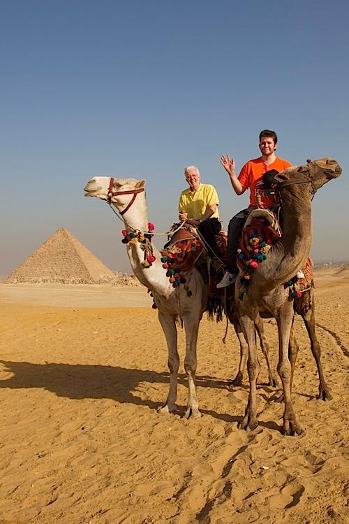 Riding around the pyramids at Giza.