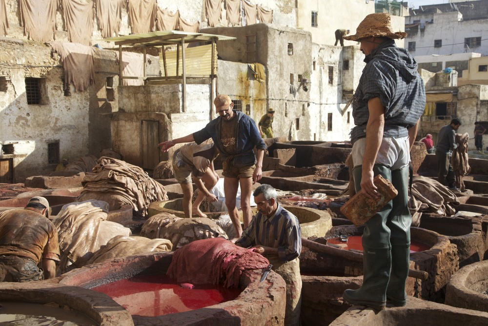 Down in the tannery in Fes.