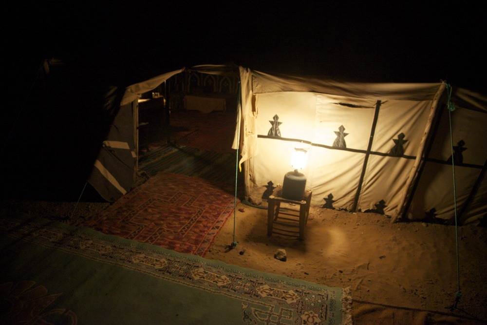 Dining tent in the desert at Erg Lihoudi near M'Hamid.