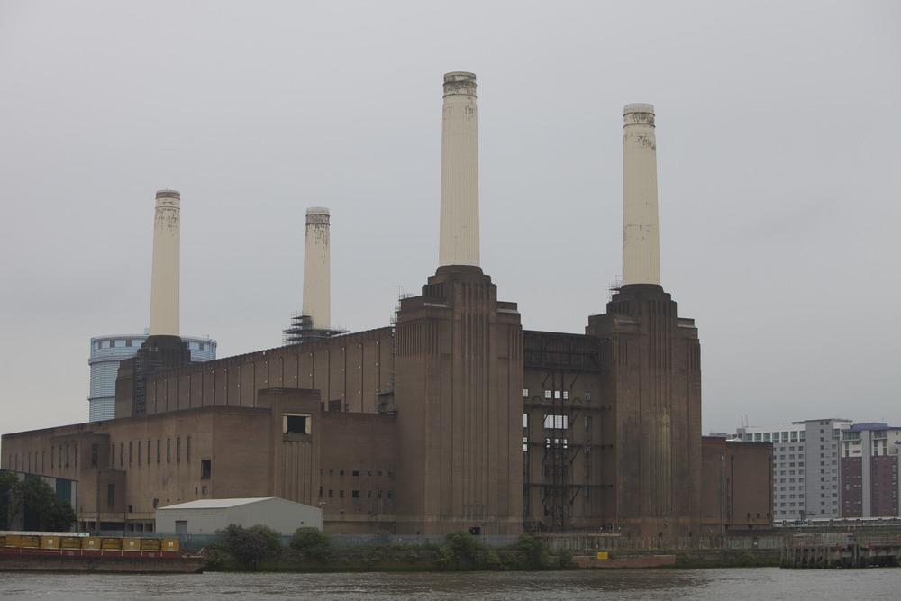 """The famous, art-deco Battersea Power Station as seen from Pimlico. (Cha, see Pink Floyd's """"Animals"""" cover.)"""