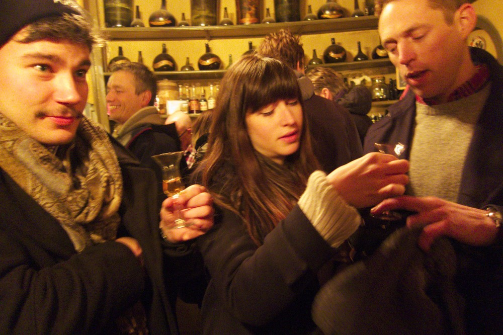 Sampling some liqueurs at Wynand Fockink. (Amsterdam, The Netherlands.)