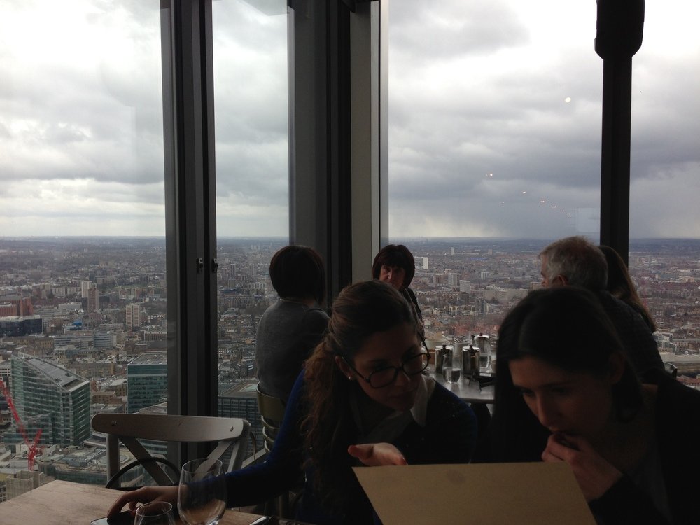 Lunch with friends at Duck & Waffle, a restaurant on the fortieth floor of Heron Tower.  (London, England.)