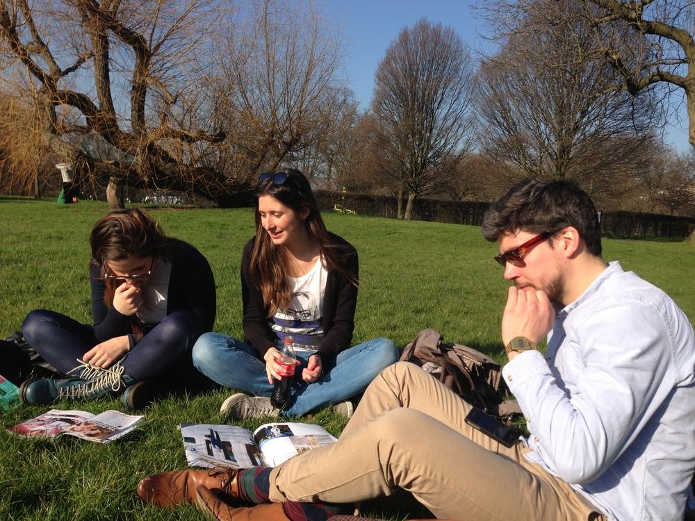 Taking a break in Regents Park with friends. (London, England.)